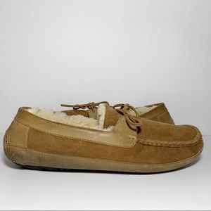 Tan Suede Wool Lining Slippers with Wool Lining